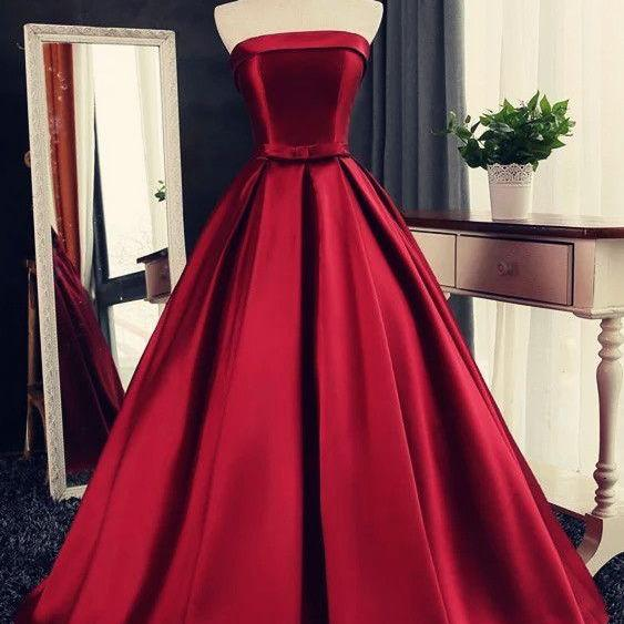Sexy Long Satin Strapless Ball Gowns Prom Dresses Burgundy Quinceanera Dresses