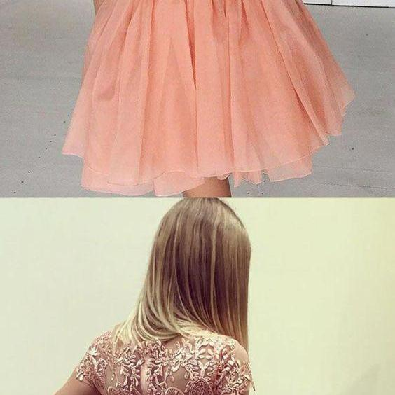 A-Line Bateau Long Sleeves Short Coral Homecoming Dress with Appliques