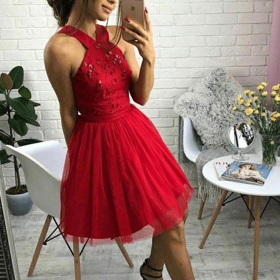 A-Line Cross Neck Short Red Homecoming Dress with Beading Pleats