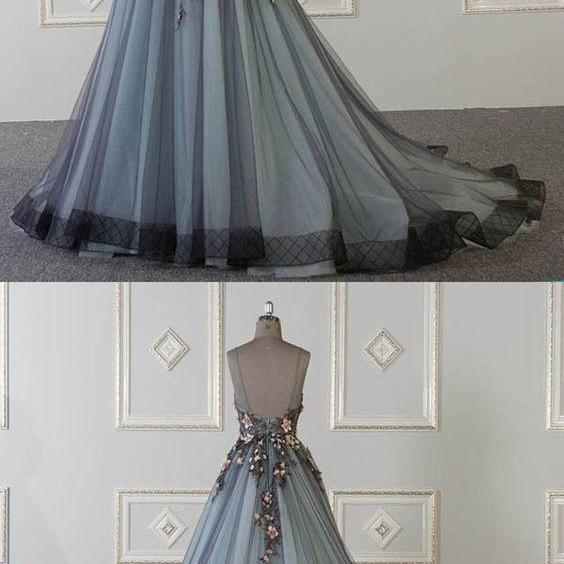 New A-Line Tulle Spaghetti Straps Sweetheart Long Prom Dresses With Appliques