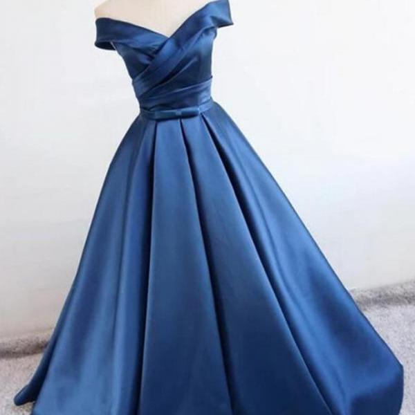 Blue Off Shoulder Satin Long Prom Dresses, Off Shoulder Blue Formal Dresses, Ball Gown, Evening Dresses