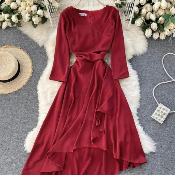 Red v-neck irregular dress A line fashion dress