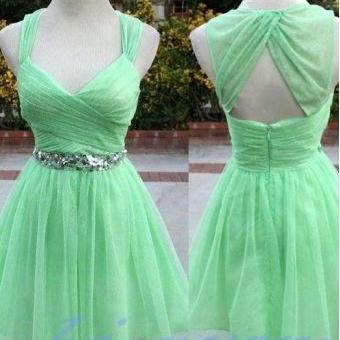 Mint Green Homecoming Dress,Tulle Homecoming Dresses With Straps,Homecoming Gowns,Backless Party Dress,Short Prom Dress,Sweet 16 Dress,Open Back Homecoming Dresses