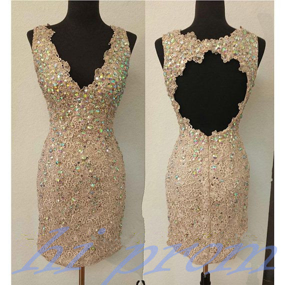 Champagne Homecoming Dress,Lace Homecoming Dresses,Short Prom Gown,Open Backs Homecoming Gowns,2015 Homecoming Dress,Backless Homecoming Dresses,Sweet 16 Dress For Teens