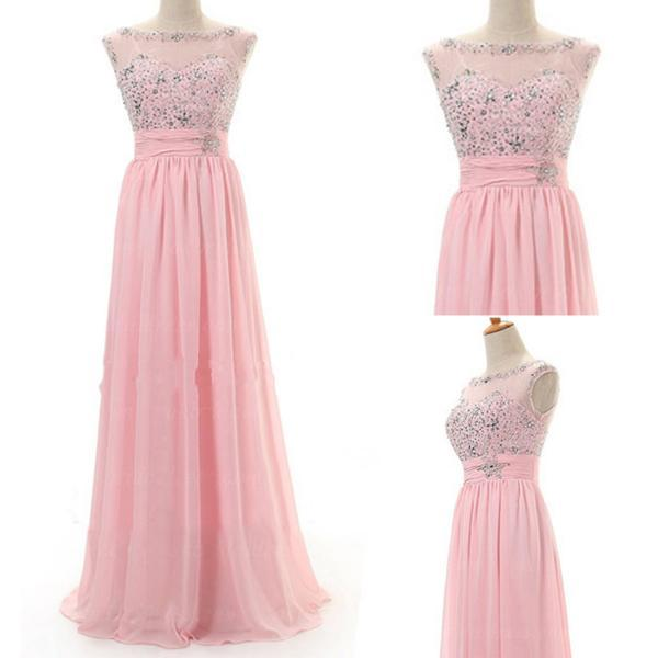Pink Long Prom Dresses,Chiffon Prom Gowns,Pink Prom Dresses 2016,Beaded Party Dresses,Long Prom Gown,Beading Prom Dress