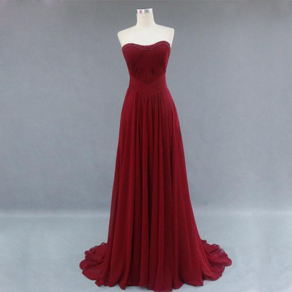 Burgundy Bridesmaid Gown,Pretty Prom Dresses,Chiffon Prom Gown, Simple Bridesmaid Dress,Cheap Bridesmaid Dresses,Wine Red Bridesmaid Gowns