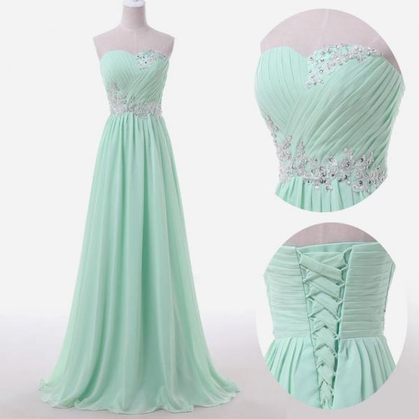 Mint Green Prom Dresses,Sweetheart Evening Gowns,Modest Formal Dresses,Beaded Prom Dresses,2016 Fashion Evening Gown,Corset Evening Dress