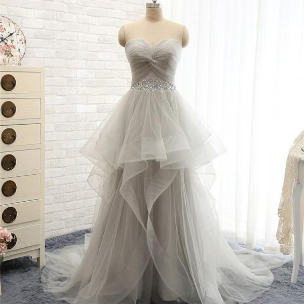 Lovely Wedding Dresses,Long Wedding Gown,Tulle Wedding Gowns,Ruffled Bridal Dress,Princess Wedding Dress,Light Grey Brides Dress,Gray Prom Gowns