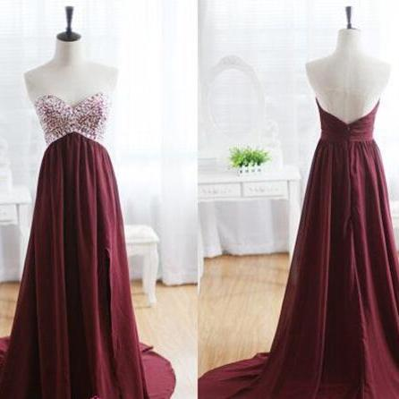 Burgundy Prom Dresses,Wine Red Evening Gowns,Modest Formal Dresses,Burgundy Prom Dresses,2016 New Fashion Evening Gown,Split Evening Dress,Slit Evening Gowns