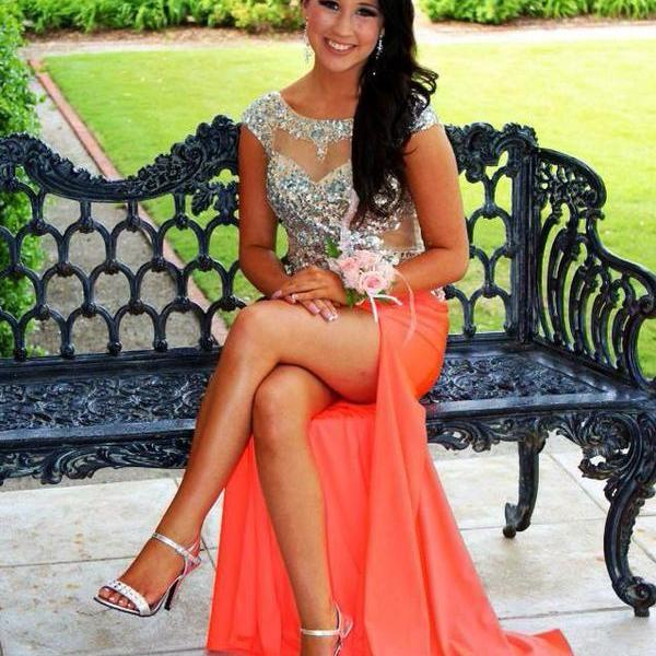 Simple Prom Dresses,Coral Prom Dress,Beading Prom Gown,Slit Prom ...