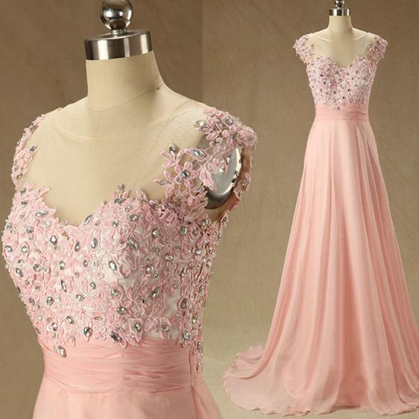 Blush Pink Prom Dresses,A-Line Prom Dress,Lace Prom Dress,Simple Prom Dress,Chiffon Prom Dress,Simple Evening Gowns,Cheap Party Dress,Elegant Prom Dresses,Cap Sleeves Formal Gowns For Teens