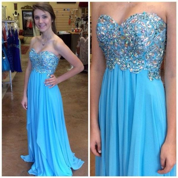 Blue Prom Dresses,A-Line Prom Dress,SparkleProm Dress,Strapless Prom Dress,Chiffon Prom Dress,Simple Evening Gowns,Sparkly Party Dress,Elegant Prom Dresses,Formal Gowns For Teens