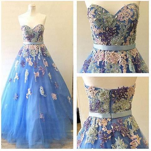 Lace Prom Dresses,Blue Evening Dress,Sweetheart Prom Dress,Tulle Prom Dress,Embroidery Prom Gown,Sexy Prom Dress,Long Prom Gown,Modest Evening Gowns for Teens