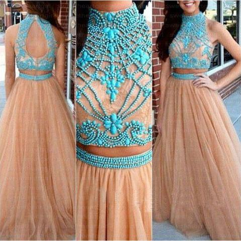 Champagne Prom Dresses,2 Pieces Prom Gowns,2 piece Prom Dresses,Tulle Prom Dresses,Tulle Prom Gown,2016 Prom Dress,Blue Evening Gown With Beading For Teens