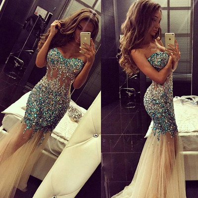 Mermaid Prom Dresses,Champagne Party Dress,Tulle Prom Dress,Modest Evening Gowns,Elegant Party Dresses,Long Evening Gowns,2016 Prom Dress