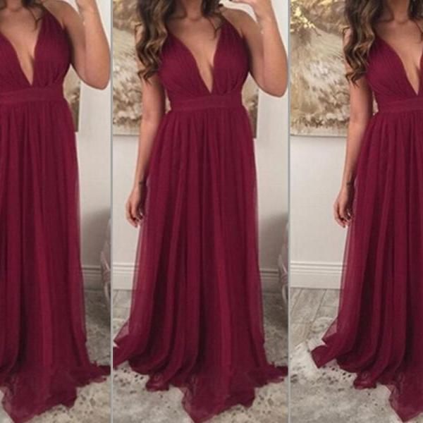 Burgundy Prom Dresses,Chiffon Prom Gown,Wine Red Prom Gowns,Simple Evening Dress,Beautiful Evening Dress,Wine Red Formal Dress,2016 Party Gowns