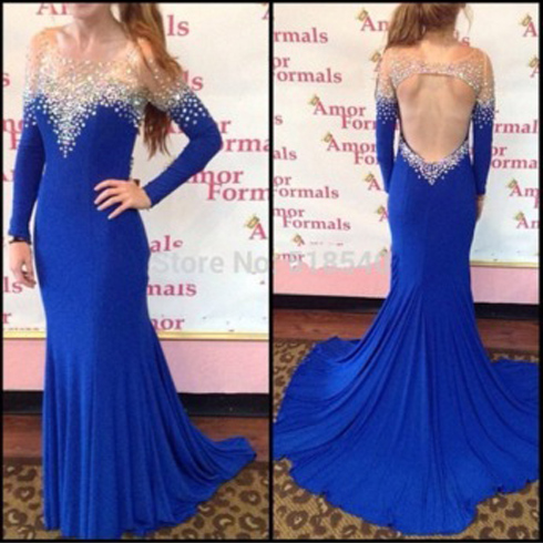 Royal Blue Prom Dresses,Chiffon Evening Dress,Backless Prom Dress,Prom Dresses With Long Sleeves,Charming Prom Gown,Open Back Prom Dress,Mermaid Fashion Evening Gowns for Teens