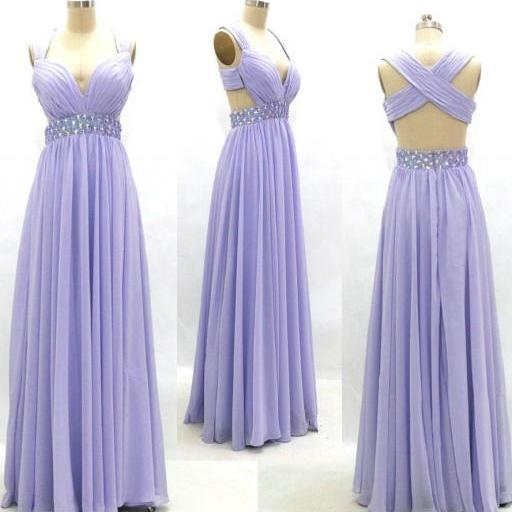 Lavender Prom Dresses,Chiffon Prom Gowns,Backless Prom Dresses,Long Party Dresses,Chiffon Prom Gown,Open Back Prom Dress,Sparkly Evening Gowns,Backless Prom Gowns,Beaded Bodice Evening Gowns