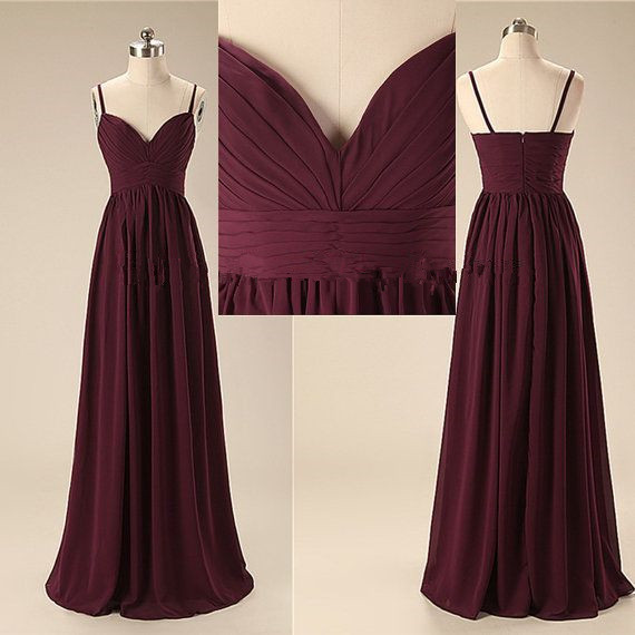 Burgundy Prom Dresses,Chiffon Prom Gown,Wine Red Prom Gowns,Simple Evening Dress,Beautiful Evening Dress,Wine Red Formal Dress,2016 Spaghetti Straps Party Gowns