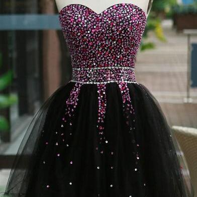 Black Homecoming Dress,Short Prom Gown,Tulle Homecoming Gowns,Elegant A Line Beading Party Dress, Short Prom Dresses
