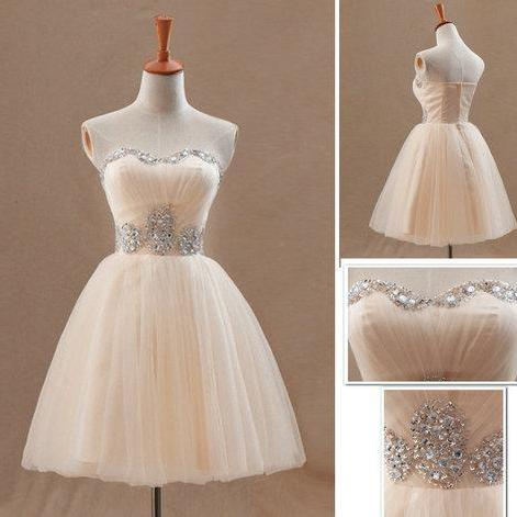 Homecoming Dress,Homecoming Dresses,Short Prom Gown,Champagne Homecoming Gowns,2016 Homecoming Dress,Ball Gown Homecoming Dresses,2016 Sweet 16 Dress For Teens