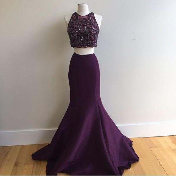 2 Piece Prom Gown,Two Piece Prom Dresses,Grape Evening Gowns,2 Pieces Party Dresses,Evening Gowns,Formal Dress,Sparkly Evening Gowns For Teens