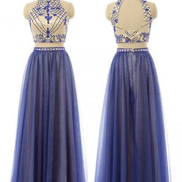 2 Piece Prom Gown,Two Piece Prom Dresses,Royal Blue Evening Gowns,2 Pieces Party Dresses,Tulle Evening Gowns,Formal Dress,Sparkly Evening Gowns For Teens
