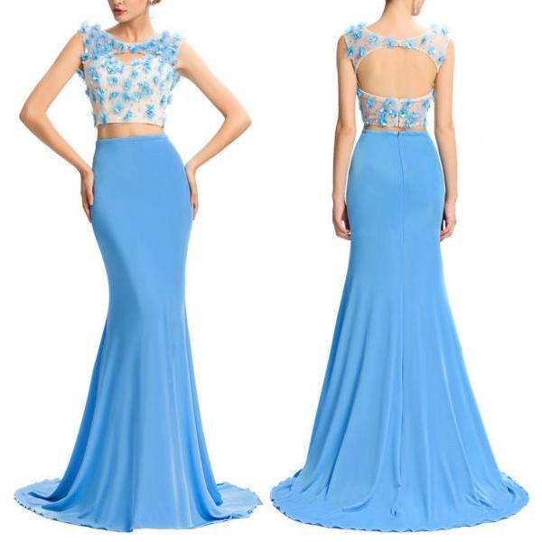 2 Piece Prom Gown,Two Piece Prom Dresses,Blue Evening Gowns,2 Pieces Party Dresses,Evening Gowns,Formal Dress,Evening Gowns For Teens