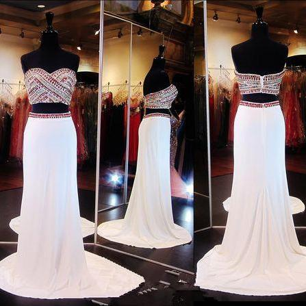 White 2 Piece Prom Gown,Two Piece Prom Dresses,Evening Gowns,2 Pieces Party Dresses,Sexy Evening Gowns,Sparkle Formal Dress For Teens