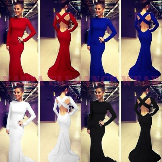 Simple Prom Dress, Long Sleeves Prom Dress, Open Back Prom Dress, Red Prom Dress, Mermaid Prom Dress, Sexy Prom Dresses, Cheap Prom Dress,Royal Blue Prom Dress, Evening Dress