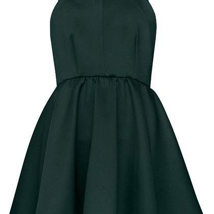 Forest Green Halter Neck Short Skater Dress, Homecoming Dress