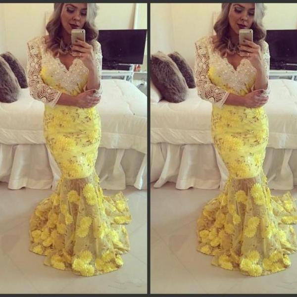 Long Sleeve Sheath Prom Dress With Yellow Appliqeus Deep V Neck Sweep Train 2016 Red Carpet Dresses Formal Special Occasion Dresses