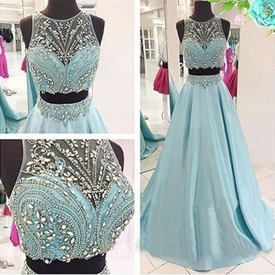 2 Piece Prom Gown,Two Piece Prom Dresses,Evening Gowns,2 Pieces Party Dresses,Evening Gowns,Sparkle Formal Dress For Teens