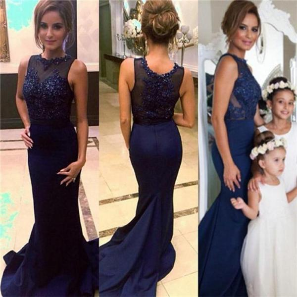 Charming Prom Dress,Navy Blue Prom Dress,Long Prom Dresses,Sexy Backless Prom Dress