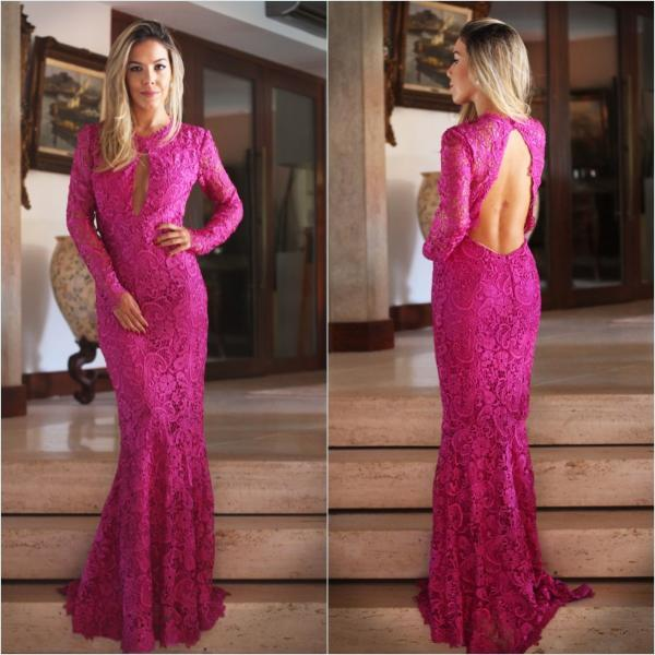 Prom Dresses,Charming Evening Dress,Prom Gowns,Lace Prom Dresses,2017 New Prom Gowns,Evening Gown,Backless Party Dresses