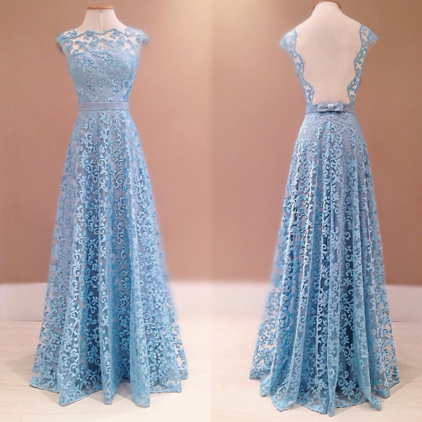 Lace Prom Dresses,Blue Prom Dress,Modest Prom Gown,A Line Prom Gown,Evening Dress,Backless Evening Gowns,Party Gowns