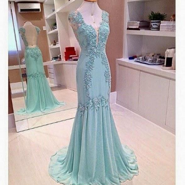 Plunging V Lace Appliqués Mermaid Long Prom Dress, Evening Dress Featuring Sheer Open Back