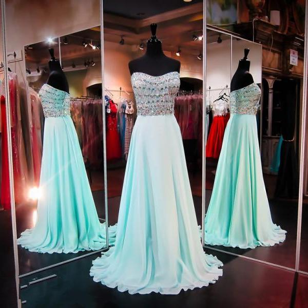 Prom Dresses,Light Blue Prom Dress,New Prom Gown,Prom Dresses,Chiffion Evening Gowns,Evening Gown