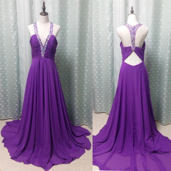 Charming Prom Dress,Beading Prom Dress,Chiffon Prom Dress,V-Neck Evening Dress