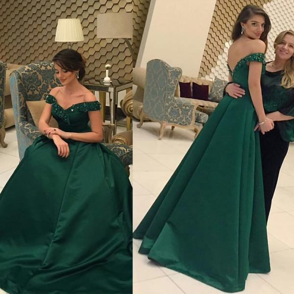 Green Off Shoulder Evening Formal Dress,High Quality Prom Dress,Gorgeous Prom Dress,Elegant Prom Dress,Sexy Prom Dress,Party Dress,Hot Sale Evening Dress,Evneing Gowns