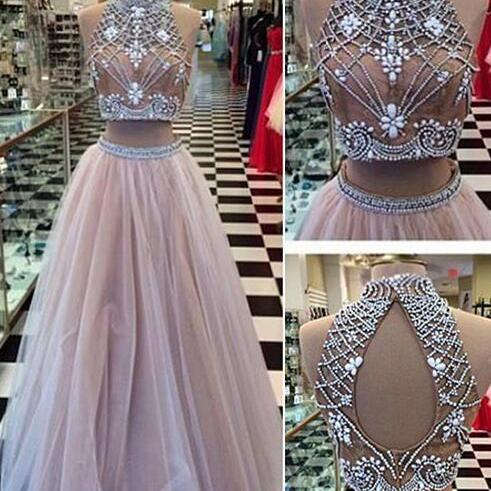 Gorgeous Two Pieces Prom Dresses,Sexy tulle Prom Dresses,Lace Prom Dresses,Long Prom Dresses,Dresses for Prom,Long Prom Dresses