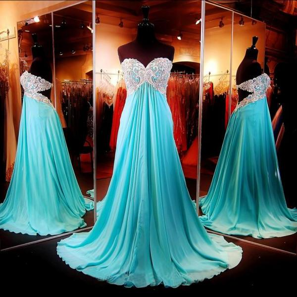 Gorgeous Prom Dress,Sweetheart Prom Dress,Open Back Prom Dress,Chiffon Prom Dress,Long Prom Dress,Floor Length Prom Dress,Crystal Beaded Prom Dress