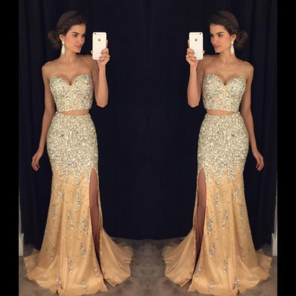 New Arrival Prom Dress,Modest Prom Dress,sparkly prom dresses,pageant gowns,two piece prom dresses,mermaid evening dress,long prom dresses 2017