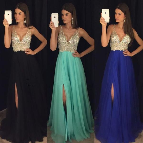 New Arrival Prom Dress,Modest Prom Dress,sparkly crystal beaded v neck open back long chiffon prom dresses 2017 pageant evening gowns with leg slit