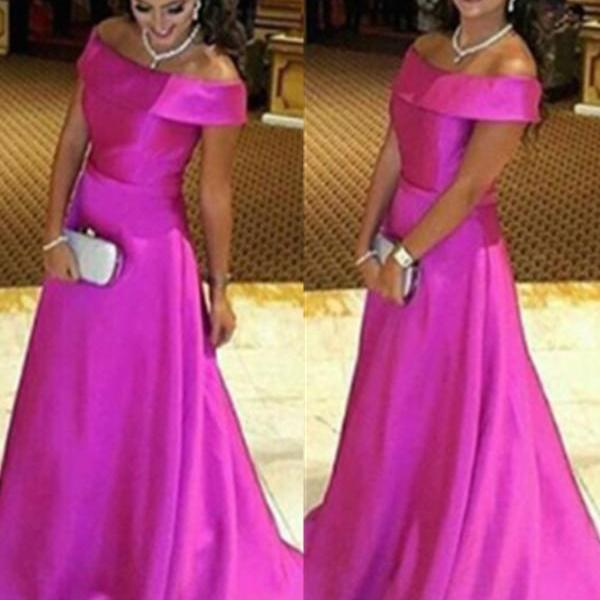 Simple Cheap Handmade Prom Dresses,High Low Hot Pink A-line Prom Dress For Teens,Off Shoulder Boat Neckline Evening Dresses