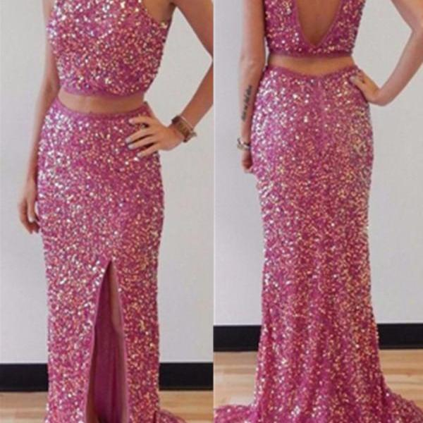 Two Pieces Sequin Shiny Front Splitt Prom Dresses,Long Prom Dress,Charming Open Back Prom Gowns,Modest Party Prom Dresses