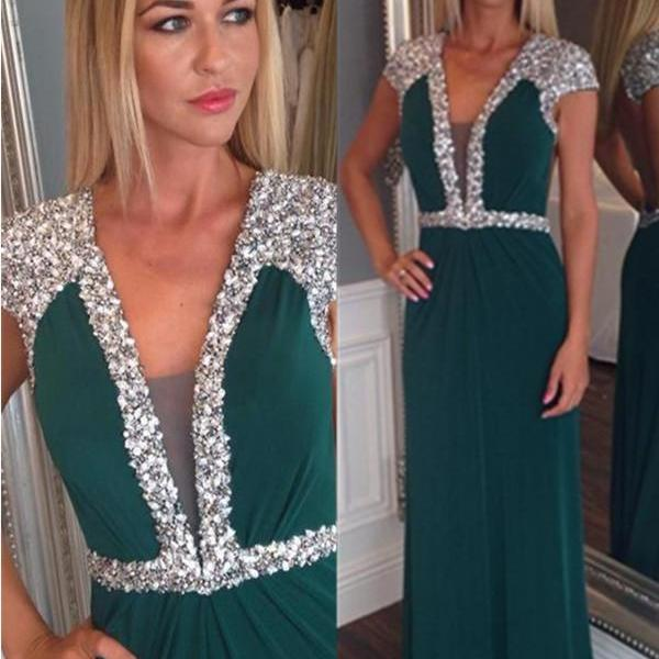 Dark Green Chiffon Beading Prom Dresses,V-neck Open Back Prom Gowns,Simple Elegant Prom Dress For Teens,Formal Evening Dresses