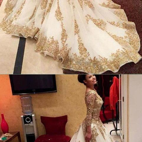 Gold Prom Dresses,Ball Gown Prom Gowns,Lace Prom Dresses,Tulle Prom Dresses,Tulle Prom Gown,Prom Dress,Long Sleeves Evening Gown For Teens