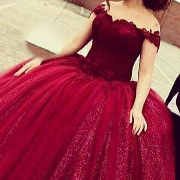 Glamorous Off Shoulder Floor-Length Sequins Wine Prom Dress with Lace Top,Lace Formal Gown For Teens