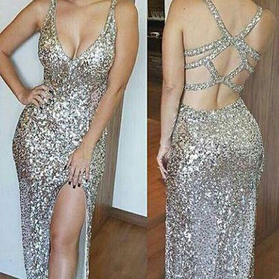 Silver Prom Dress,Sexy Prom Dress,Sequined Prom Dresses,Formal Gown,Evening Gowns,Sequin Prom Gown For Teens